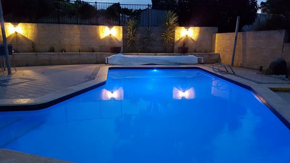 swimming pool with new paint at night