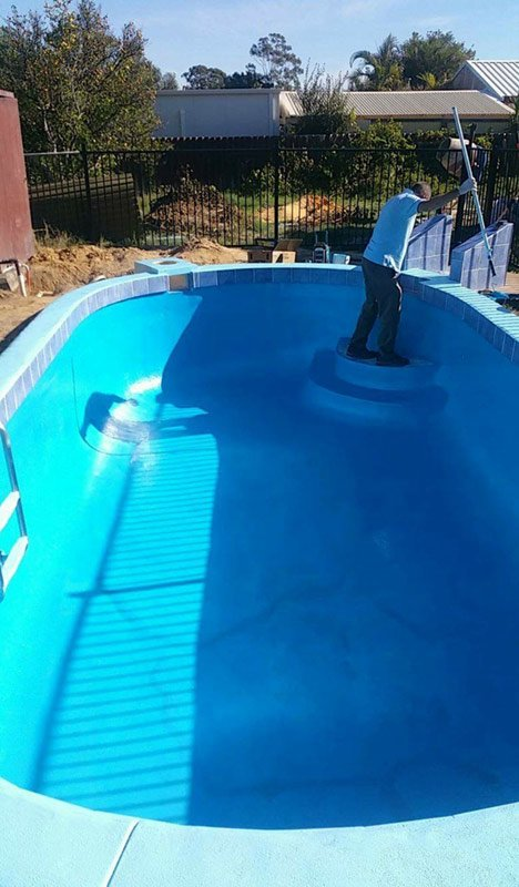 small pool with bright blue paint