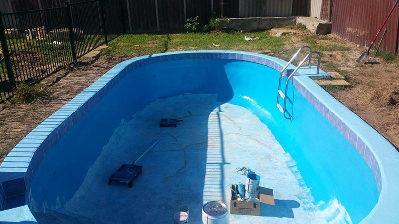 swimming pool with new painted walls