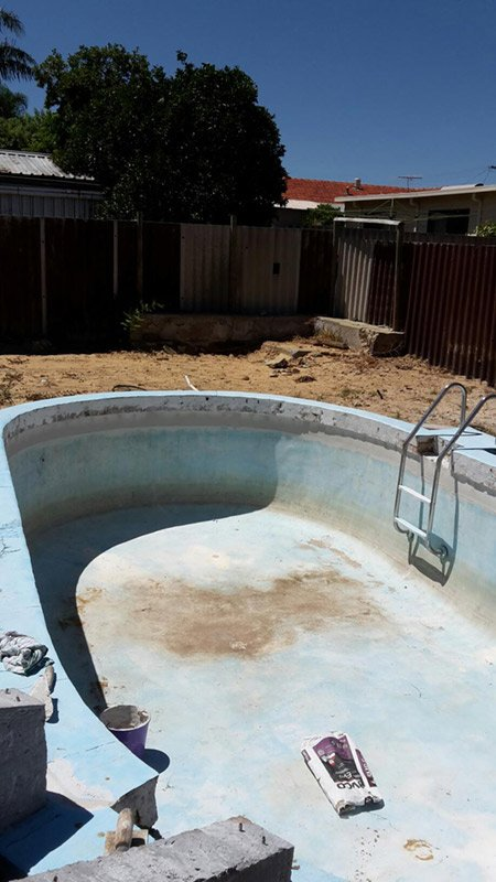dirty pool about to be painted