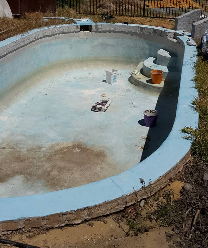 dirty pool in need of paint