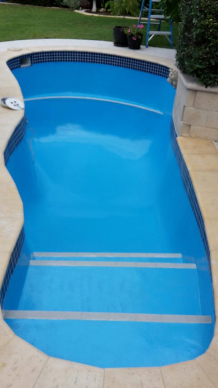 sloped pool with new paint