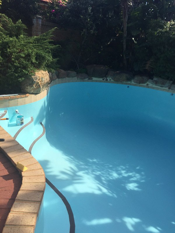small pool with steps and new paint