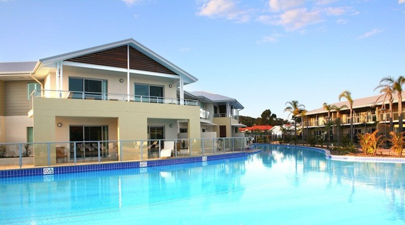 large pool by apartment in perth