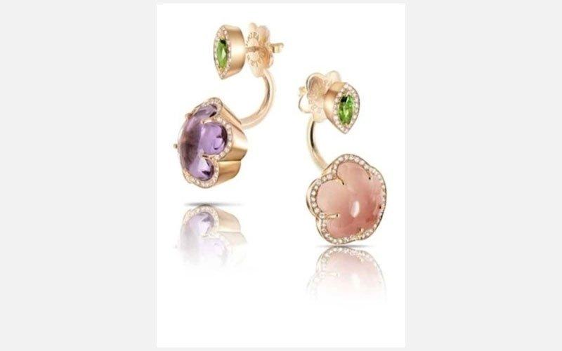 quarzo rosa, peridoto e diamanti