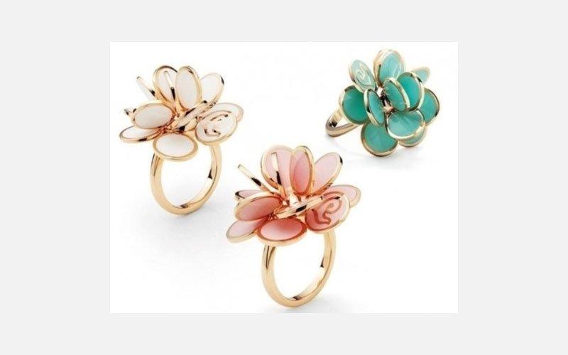 anelli oro rosa smalto multicolor