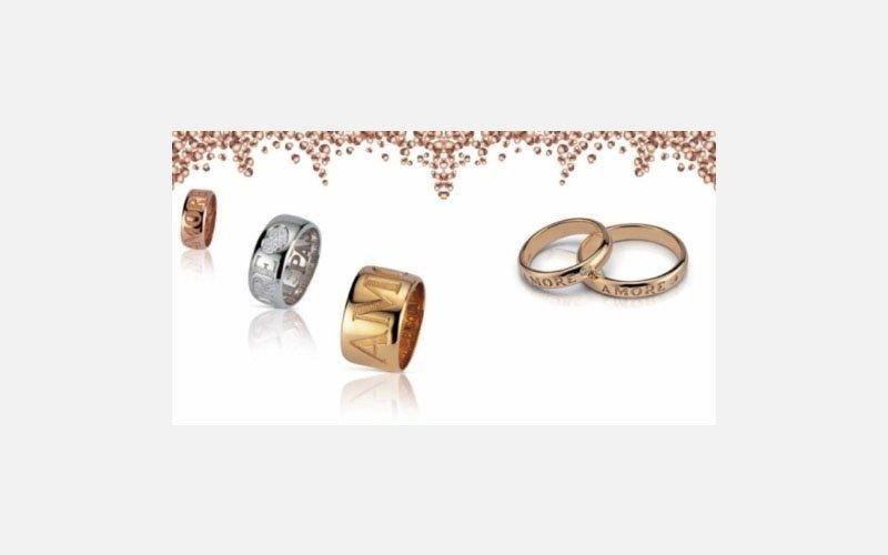 set anelli oro giallo linea Amore -disponibile