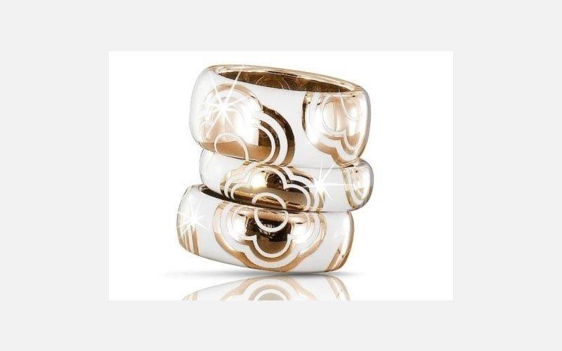 anello oro giallo e smalto