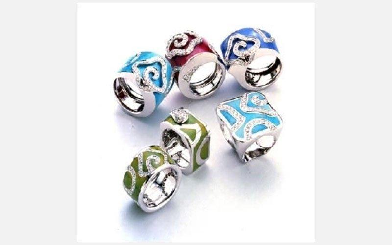 set anelli azzurri e verdi