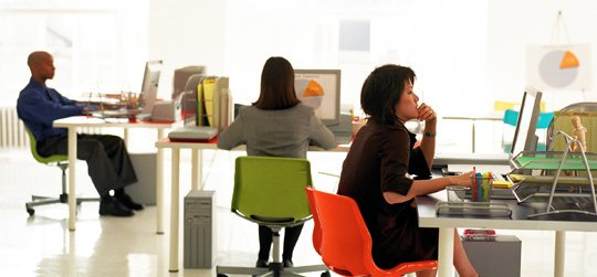 Employees working in office setting