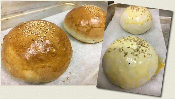 Home-made burger buns