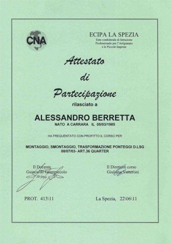 certificato di trasformazione ponteggi