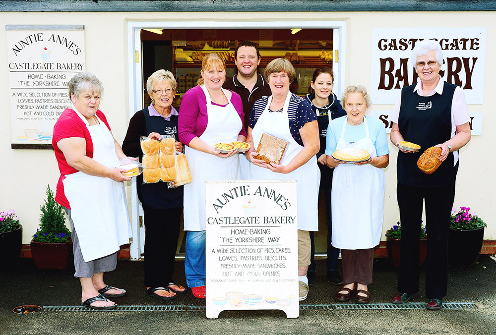 The shop and staff of Auntie Anne's Bakery in Helmsley
