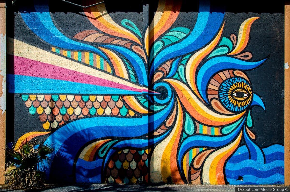 beastman mural graffiti art at old jaffa port. Black Bedroom Furniture Sets. Home Design Ideas