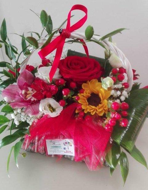 cestino di fiori per laurea