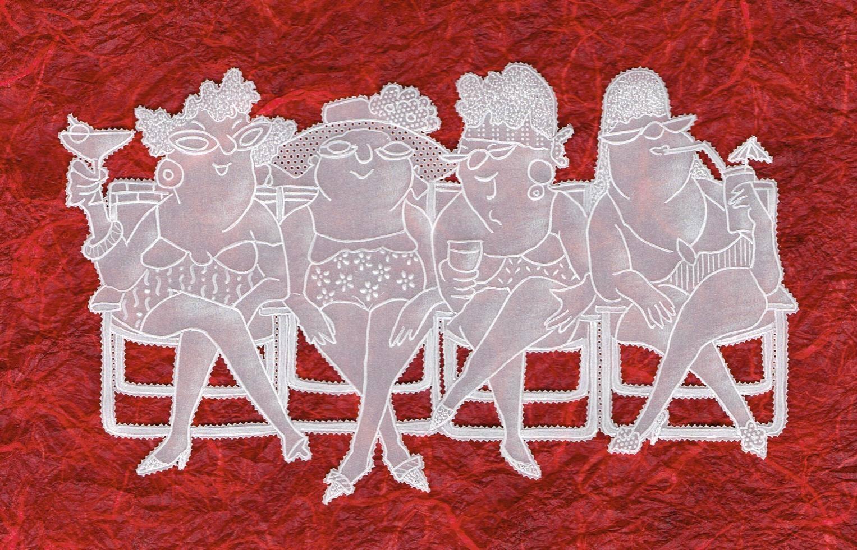 נשים על ספסל - אמנות התחרה מנייר