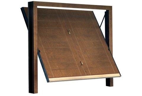 modello orizzontale tecnco porta basculante in legno