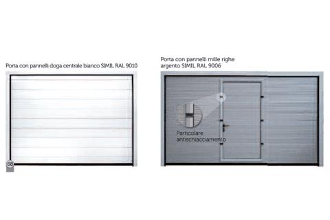porta con pannelli doga centrale bianco SIMIL RAL 9010-portA con pannelli mille righe argento SIMIL RAL 9006