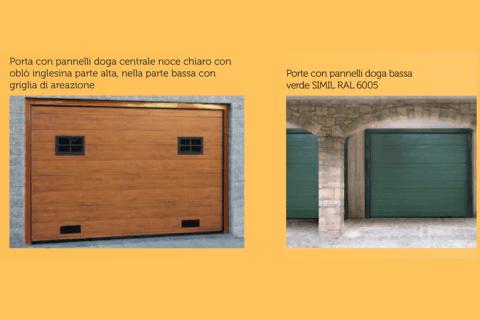 porta con pannelli doga centrale noce chiaro-porte con pannelli doga bassa verde SIMIL RAL 6005