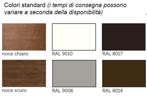 Conformità europea-colori standard-NOCE CHIARO-NOCE SCURO-RAL 9010-RAL 8017-RAL9006-RAL8014
