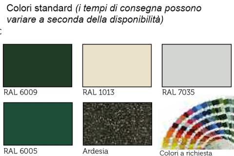 Conformità europea-colori standard-RAL 6009-RAL 1013-RAL 7035-RAL6005-ARDESIA-COLORI A RICHEISTA