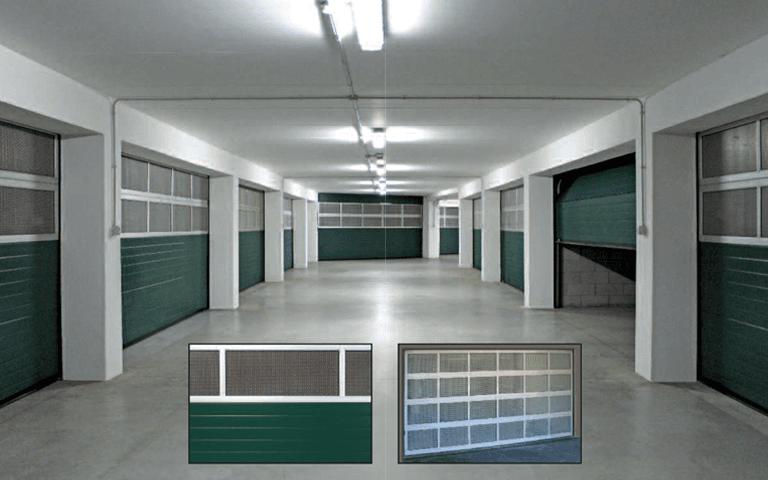 vista interna di un impianto con porte sezionali
