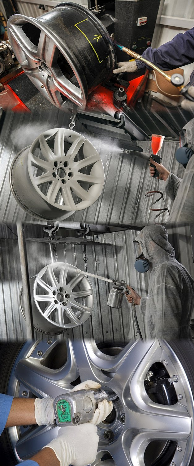A mechanic performing Sheffield's best value alloy wheel refurbishment