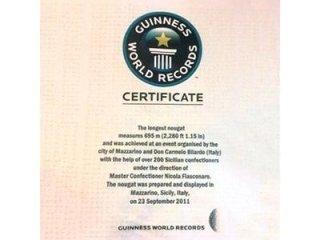 Certificato torrone da Guinness