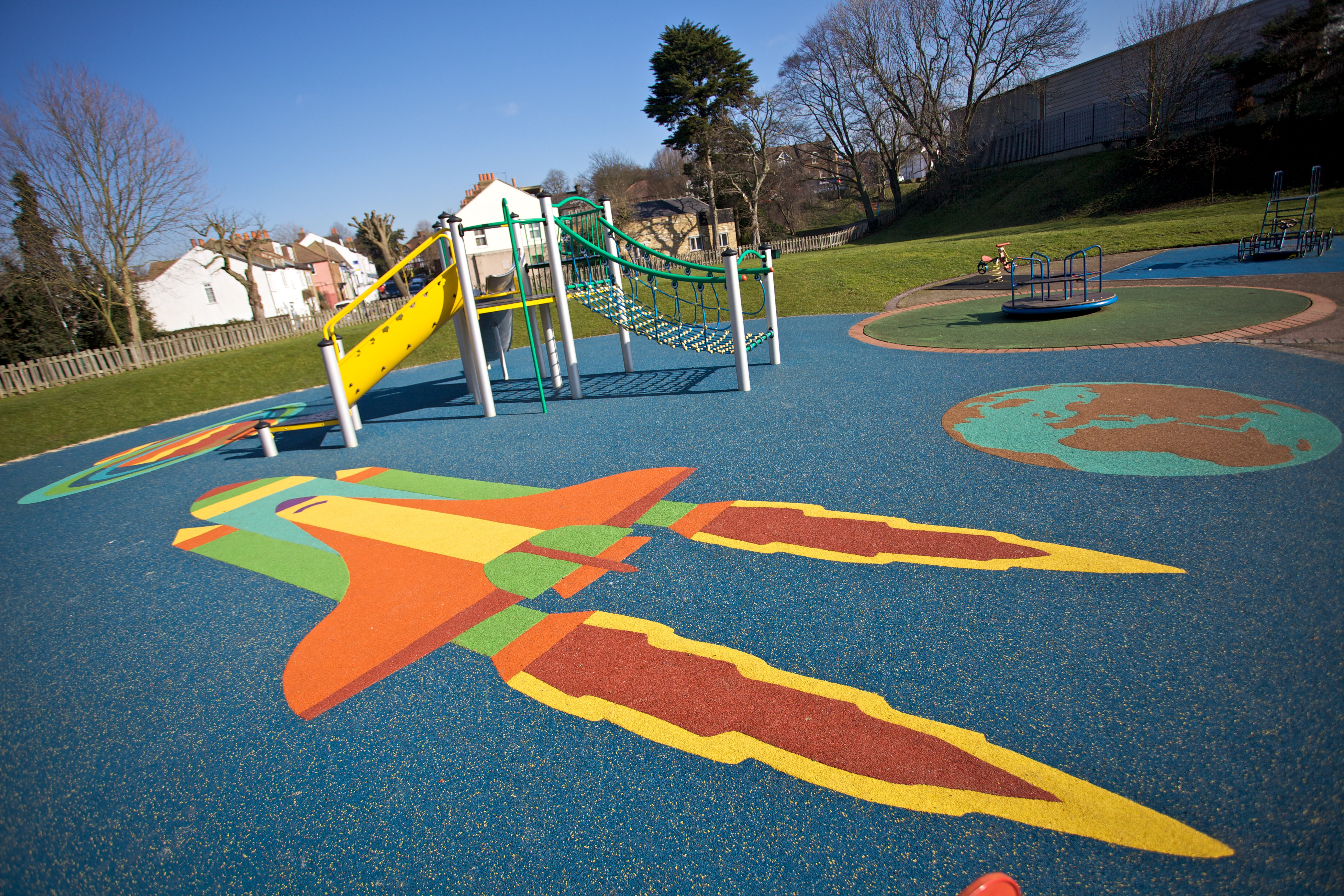 Wet pour, rubber surfacing, playground