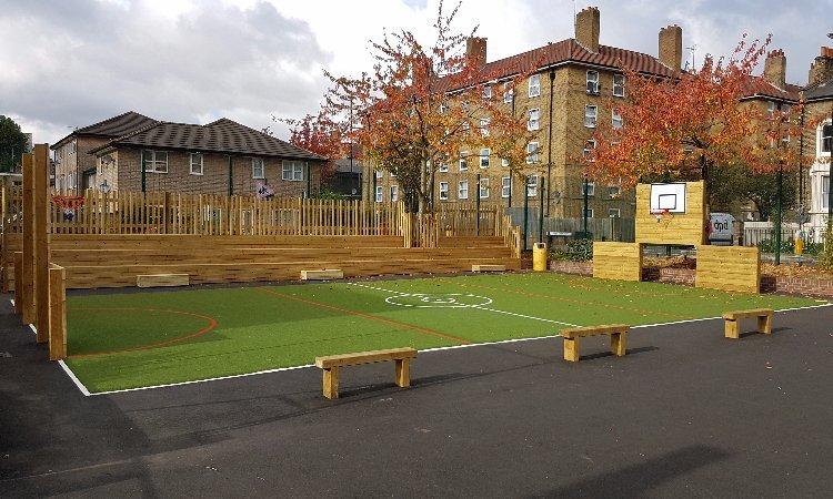 School Playground design & installation at St Elizabeth's School in Bexley, London | Playcubed Playgrounds