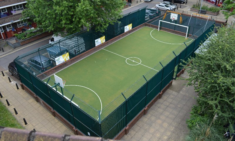 MUGA & Playground design & installation at Whitwirth House Community in Southwark, London | Playcubed Playgrounds