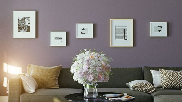 Interior home purple painted wall