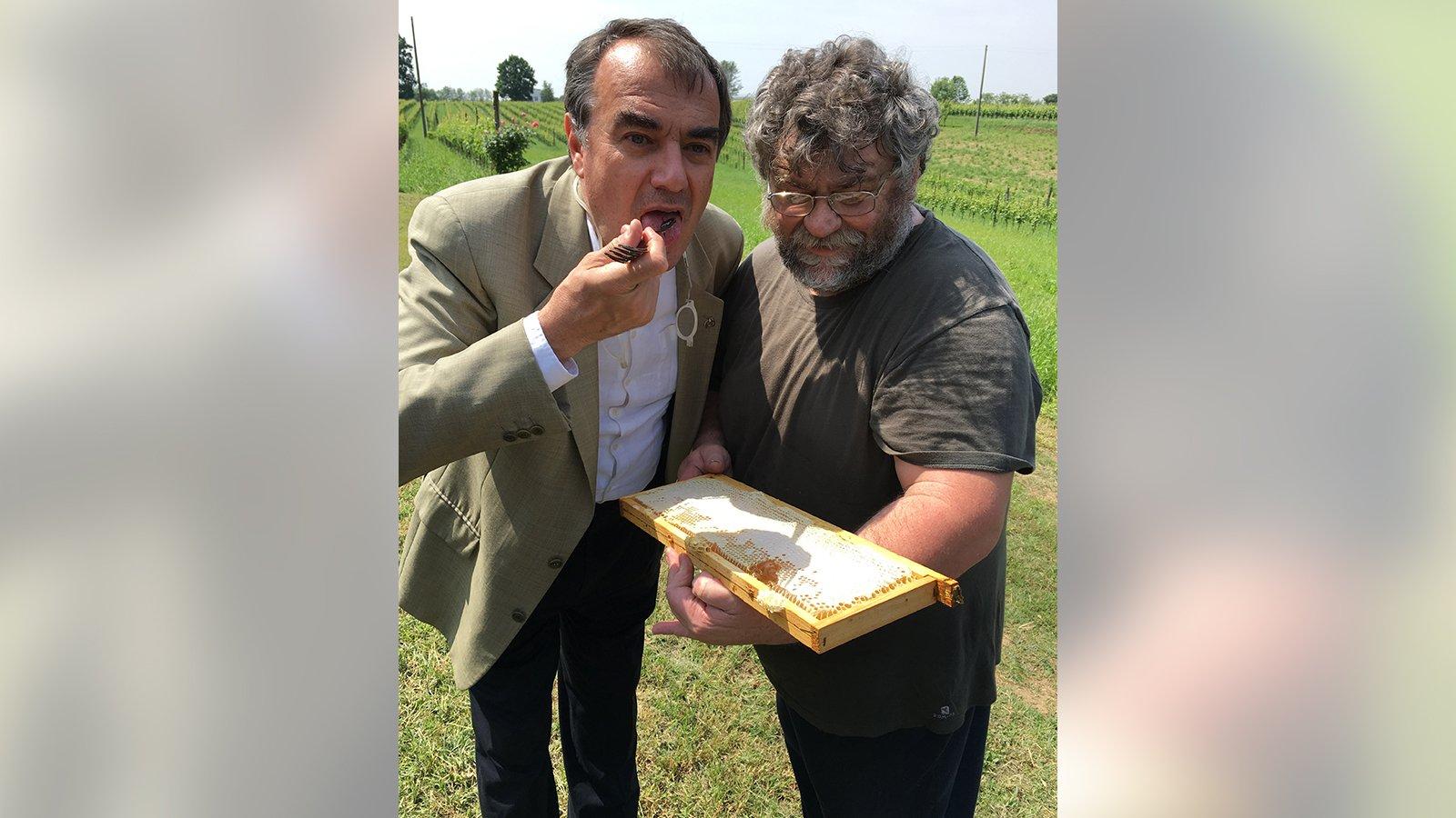 Un sommellier assaggia il miele artigianale offertogli da un operaio dell'azienda Pratum Coller a Castel Mella