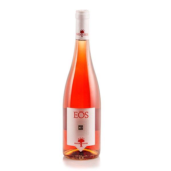 una bottiglia di vino rosè con scritto Eos