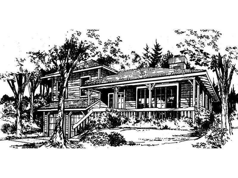 Disegno di villa con coperture a padiglione