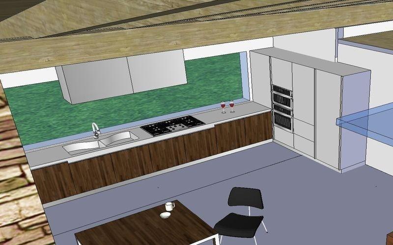 Progettazione cucina con vetrata
