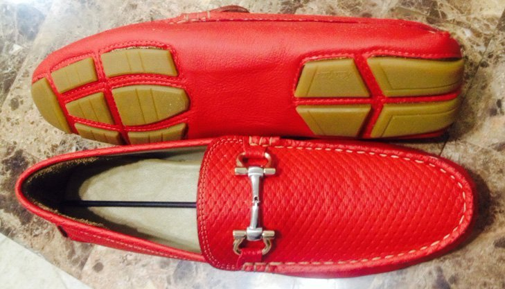 Custom red leather driving shoes