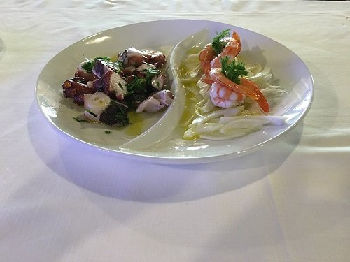 dish with octopus and prawn