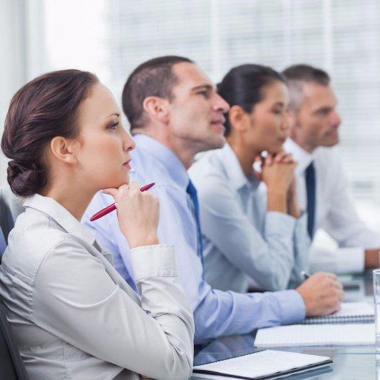 business people listening