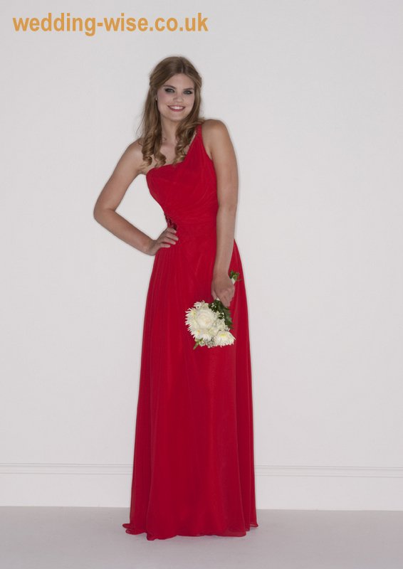 red chiffon bridesmaid