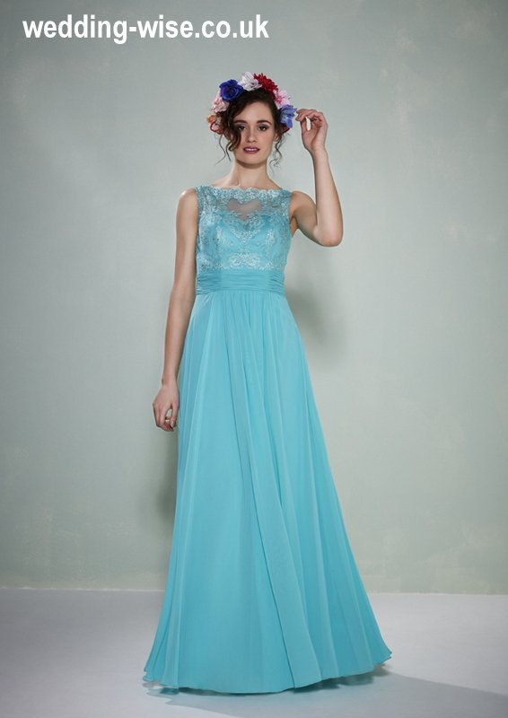 aqua lace and chiffon bridesmaid