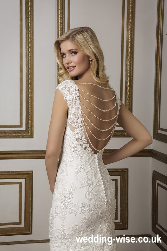 open back beaded wedding dress back