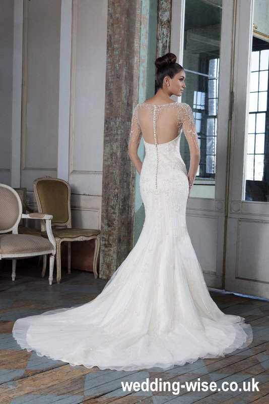 classy fit and flare wedding dress back