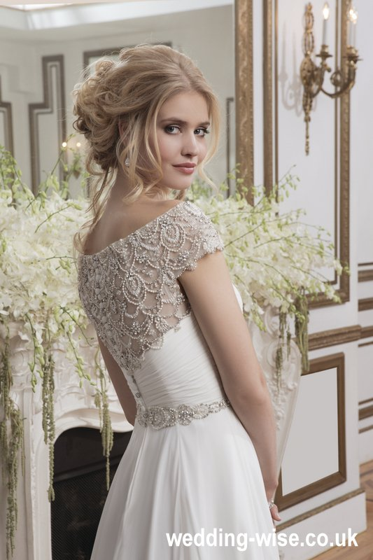 chiffon ball gown wedding dress back detail