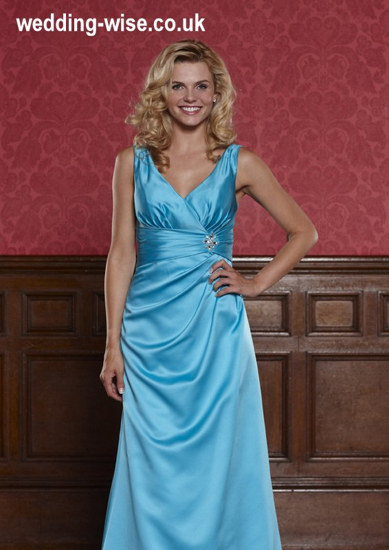 aqua satin bridesmaid