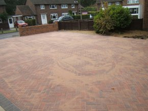 A freshly repaired driveway