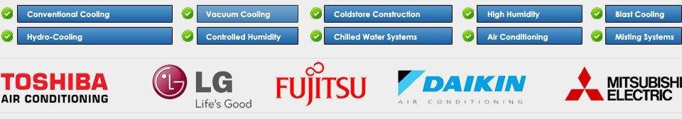 TOSHIBA, LG, FUJITSU, DAIKIN and MITSUBISHI ELECTRIC logos