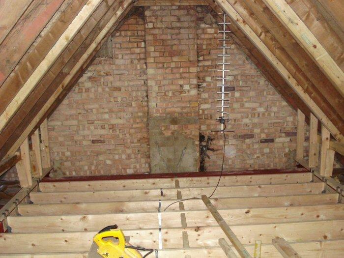 Wooden trusses in loft