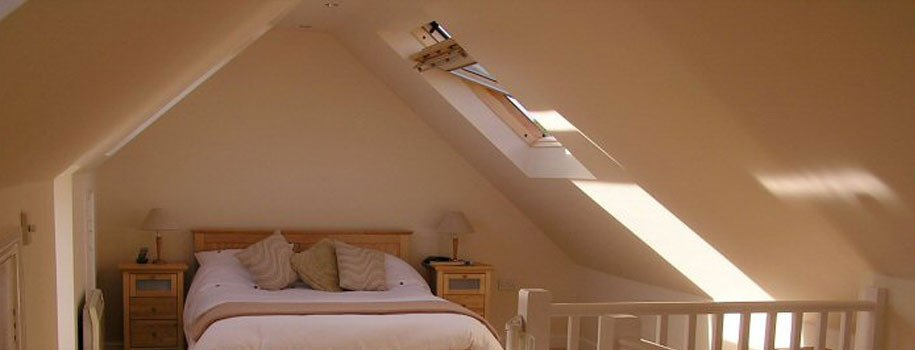 Loft bedroom with skylight