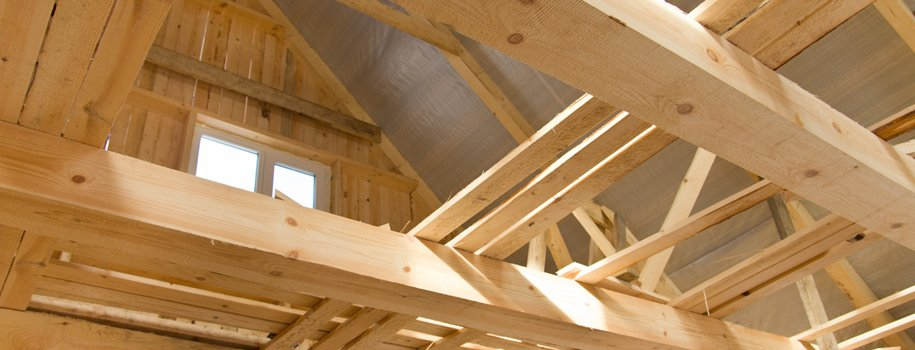 Preformed roof trusses in building